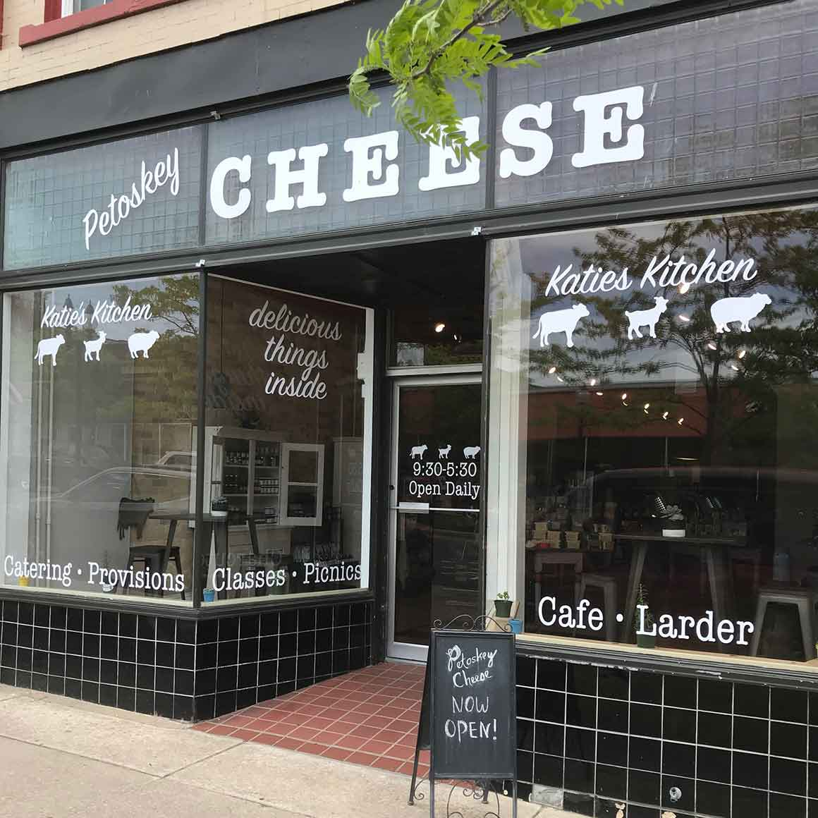 petoskey cheese storefront vinyl lettering